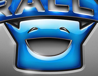 Pixel Rally - glossy logo treatment