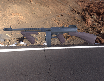 Game ready low poly Thompson SMG