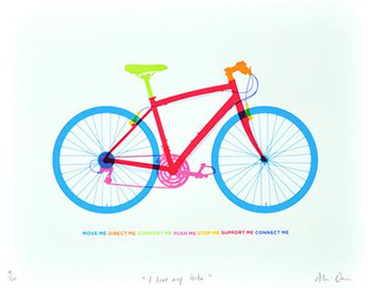 """""""I love my bike"""" 7 colour screen print"""