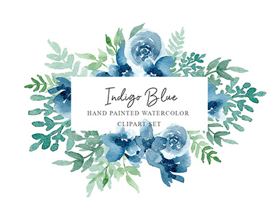 Free Indigo Blue Flowers Clipart Set