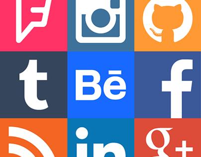Social Network Square Icon Set