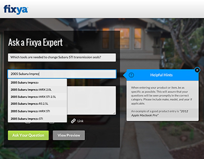 Fixya Ask a Question form redesign