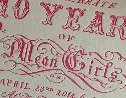 MEAN GIRLS anniversary party, Invitation design