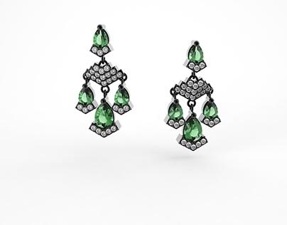 Art Deco Earrings- Color Tests