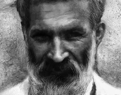 Digital Mouse Painting Portrait of Constantin Brancusi