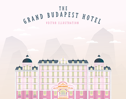 the grand budapest hotel vector illustration on behance. Black Bedroom Furniture Sets. Home Design Ideas
