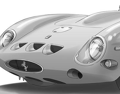 Illustrazioni vintage Ferrari 250 GTO e Vespa Piaggio