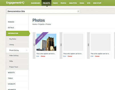 User flow and UI for Photo Gallery in EngagementHQ