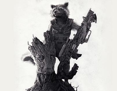 Rocket the Raccoon & Groot by Julio Lucas