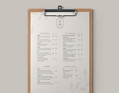 Single Page Menu Design For Vegan Coffee Shop