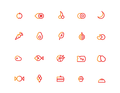 Icon set for culinary app