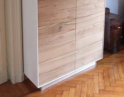 cabinet for living room lacquered + natural oak