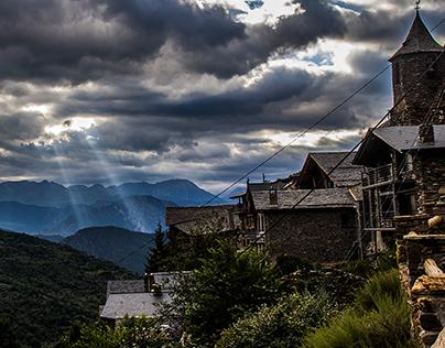 Pyrenees landscape storm