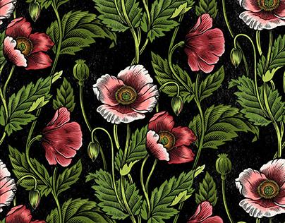 Poppy repeat print