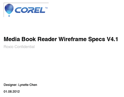 Corel Media Book Reader Wireframe Specs_Metro