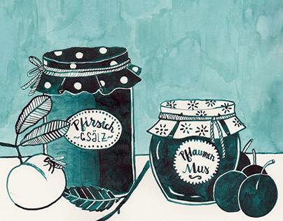 Homemade – Peach jam and plum puree
