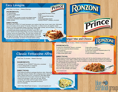 Ronzoni and Prince Pasta Recipe Cards