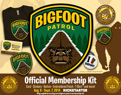 """Bigfoot Patrol Membership Kit"" Kickstarter design"