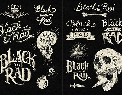 Black and Rad Handlettering, Calligraphy, Logos