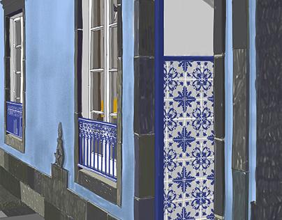 Azorean house with azulejo