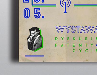 Typographic poster about Nikola Tesla exhibition