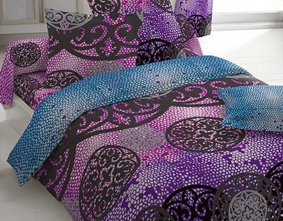 Bedding, digital cushion and rug set