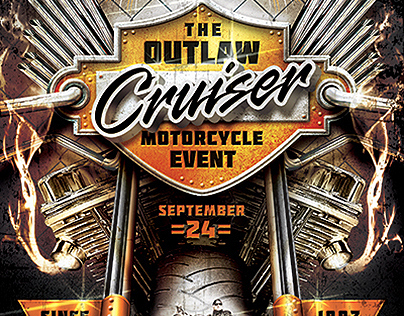 outlaw motorcycle event flyer template on behance