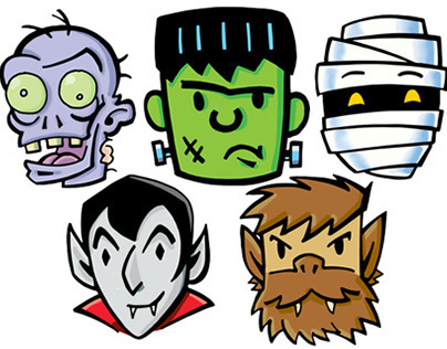 Classic Halloween Monsters / Stamps