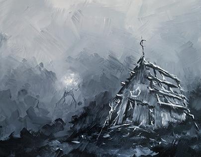 moonruin - acrylic painting