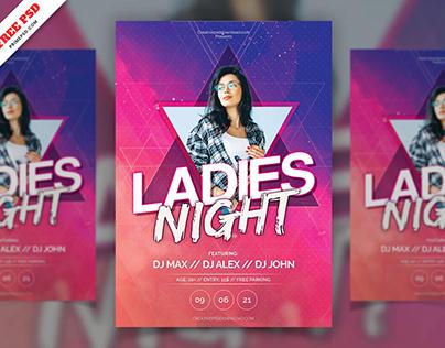 Ladies Night Party Flyer Freebie PSD Free Download