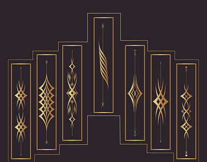 Luxury Ornament Set Design With Vector