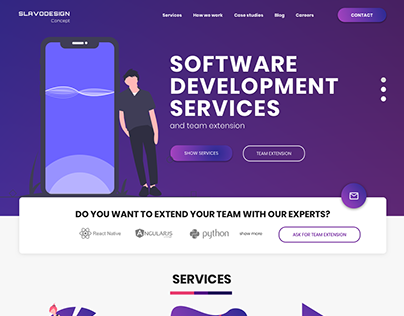 Flat Software House Company Page Concept