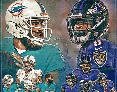 Dolphins vs Ravens poster design