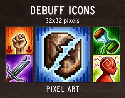 48 Debuff Skill Pixel Art Icons