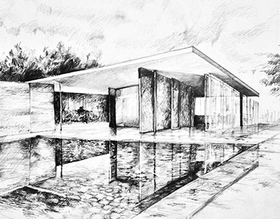Architectural freehand drawing