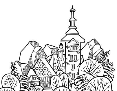 Castle in a lake - landscape illustration
