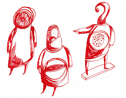 Seven drawings in red and black ink