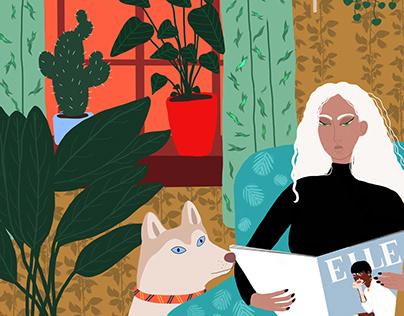 Reading a good magazine - Digital Illustration