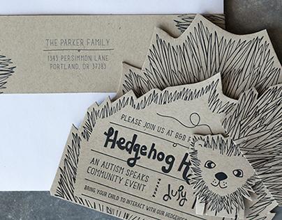 Hedgehog Holdout Autism Event Letterpress Invite