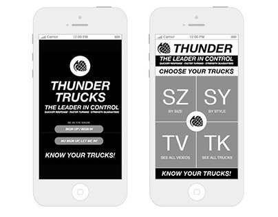 Thunder Trucks Know Control App Wireframes