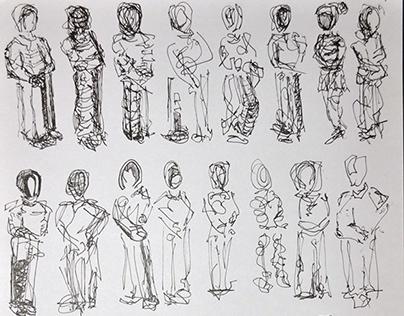 Figure Studies (ink on paper, graphite on paper)