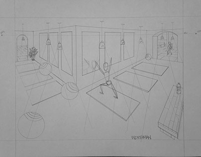 Perspective Drawing: Yoga Studio
