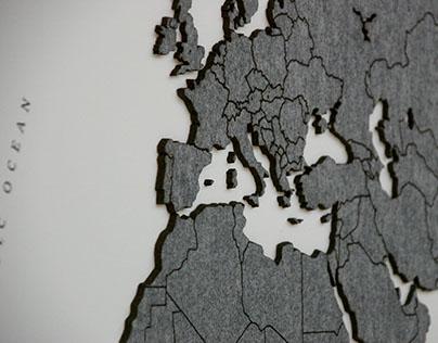 World map made of felt