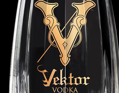 Vektor Vodka Logo, Bottle, and Identity Package Design