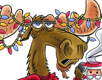 Grumpy Christmas Moose