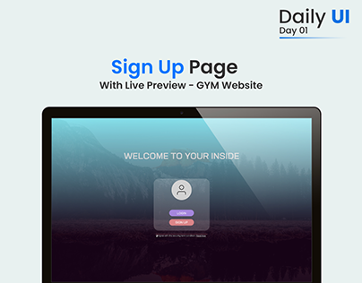 Sign up page | With live preview | System login