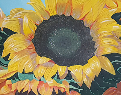 Sunflowers 50x75 cms oil/acrylic on panel