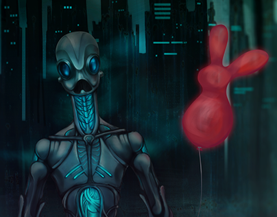 Robot with red rabbit baloon