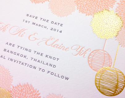 Festive pom pom wedding invitation design on behance stopboris Choice Image