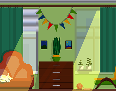 Illustration in the flat style: room